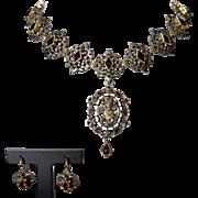 G A S Georg Adam Scheid Victorian Silver Gilded Garnet Parure Necklace Earrings