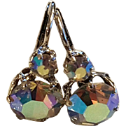 Vintage Earrings Silver Tone & Paste Aurora Borealis French Leverback Dormeuse