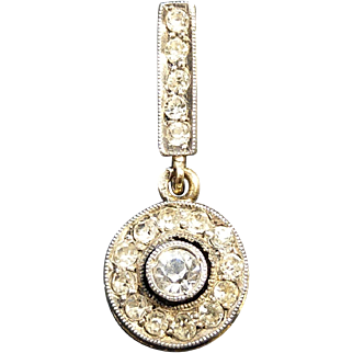 Vintage Art Deco French Silver & 18k Gold Drop Pendant with Paste