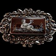 Antique French Victorian Cut Steel & Enamel Brooch Pin
