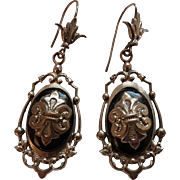 Antique French Victorian Silver Tone & Black Lacquer Dangling Earrings Fleur de Lis Pattern
