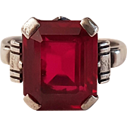 French Vintage Art Deco Silver Synthetic Ruby Ring