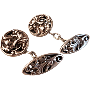 Antique Art Nouveau French Silver Cufflinks Carnation Design