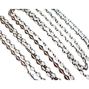Antique Silver Long Guard Chain Necklace French Hand Made 55,9 inches