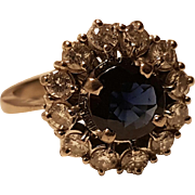 Vintage 1980' 18k White Gold Diamonds & Natural 2 cts Sapphire Ring