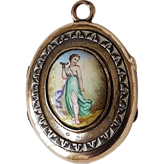 Antique Victorian French Rose & Green Gold Plated Enamel Locket Reliquary Pendant