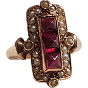 Antique French Victorian 18k Rose Gold Garnet Cabochon & Seed Pearls Ring