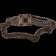 Antique German Silver Filigree & Garnet Kropfkette Necklace