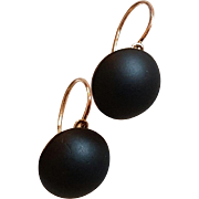 Large Antique Late Victorian Mourning French Gold Filled Jet Dormeuse Earrings