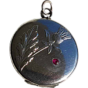 Antique French Silver Photo Reliquary Locket Pendant thistle Pattern Synthetic Ruby