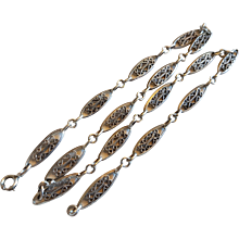 Antique French Silver Filigree Chain Necklace