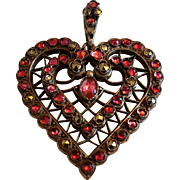 Large Antique Victorian French Silver Plated Openwork  Pink Paste Marcasite Heart Pendant