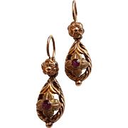 "Antique French Late Victorian 18k Gold Filled ""Double Or"" Maison Savard Dormeuse Earrings N°12"