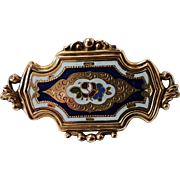Antique French Victorian 18 carats Gold Filled Enamel Brooch Pin N°3