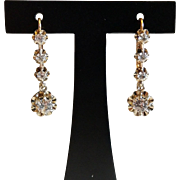 Outstanding Art Deco French 18k  Gold Sparkly Spinel Dangling Leverback Dormeuse Earrings