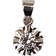 Vintage Art Deco French White Sapphire 18k White Gold Solitaire Pendant