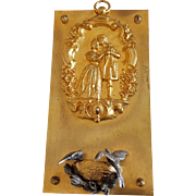 Antique French Victorian Silvered & Gilded Brass Heloise and Abelard Decorative Plaque