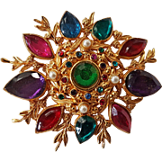 Vintage French 1980' Large Costume Gold Tone Brooch Pendant Multicolor Rhinestone Signed L'Or Du Soir