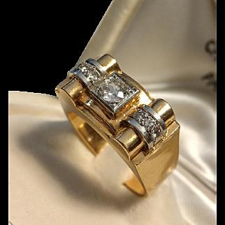 French Vintage 1940 Heavy Platinum & 18k Rose Gold Bridge / Tank Diamond Ring