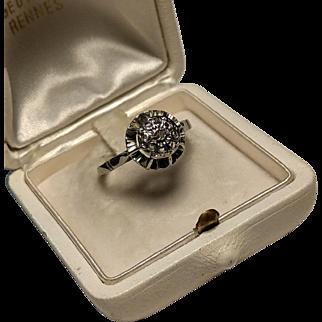 Art Deco French 18K Cluster Rose Diamond Engagement ring