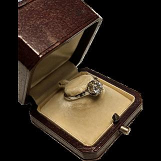 Art Deco French 18K Gold Half Carat Old Cut Diamond Engagement ring
