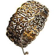 French Victorian Silver Fleur de Lis Bangle Bracelet