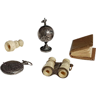Lot of 5 Miniatures For Parisian Doll Silver Globe / Paris Universal Exhibition Balloon Stanhope Binoculars / Silver Locket Watch Shape