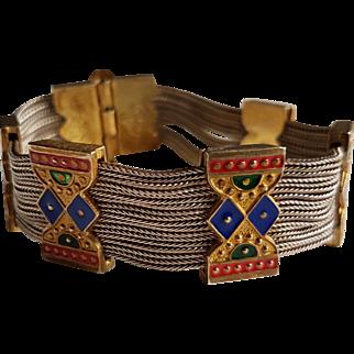 Vintage Sterling & Vermeil Enamel Turkish Bracelet Signed 84NU 925