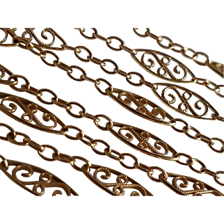 Antique 18k Gold French 30,12 in Filigree Chain Necklace 11,32 grams