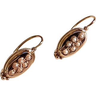 Antique French 1900 18 k Gold Seed pearls Dormeuse Earrings