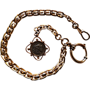 Antique French / German 1900 Rose Gold Filled Watch Chain with Locket Roman Coin Fob