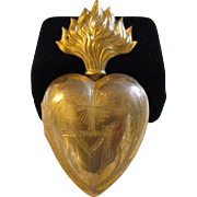 Antique French Brass flaming sacred heart ex voto reliquary box Heart of Mary