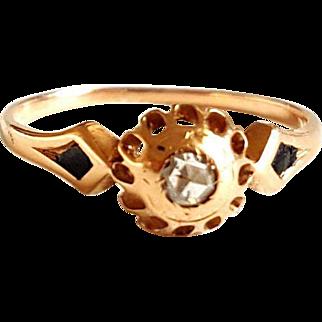 Georgian Rose Cut Diamond 18k Gold Black Enamel Ring