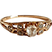 Georgian French Rose Cut Diamond .20ct 18k Rose Gold Ring