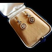 Vintage 18 k Gold Rose Diamond Dangling Earrings Art Deco French Dormeuse Leverback In Box