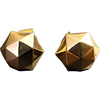 Victorian Gold Filled Faceted Pierced Earrings French Antique Jewelry