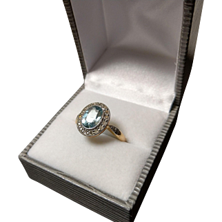 French Art Deco 18k Gold Aquamarine Diamond Ring