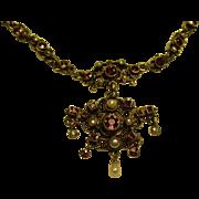 Austro-Hungarian Victorian Silver Gilt Vermeil Tourmaline Pearl Necklace