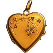 Antique French Art Nouveau 18k Gold & Seed Pearl Heart Locket Reliquary Pendant