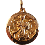 Vintage French 18k Gold Saint Christopher Religious Medal Pendant Signed