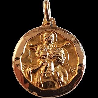 Vintage French 18k Gold Saint Christopher Religious Medal Pendant Signed