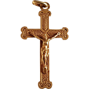 Antique French 18k Yellow Matt Gold Christ cross Pendant