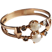 Victorian French 18k Rose Gold Pearl Rose Diamond Ring