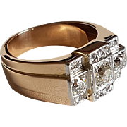 Retro French Art Deco 1940' Tank Ring 18k Gold & Platinum 1 ct Diamond