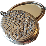 Antique French Art Nouveau Silver Plated Slide Beveled Mirror Locket Pendant