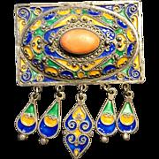 Vintage Moroccan Silver Enamel & Coral Brooch