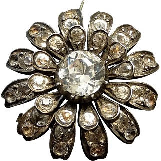 Victorian French Silver Paste Brooch / Hair Pin Flower Shape