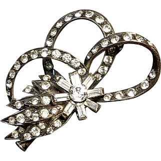 Art Deco Vintage French Silver Paste Brooch Bow Shape