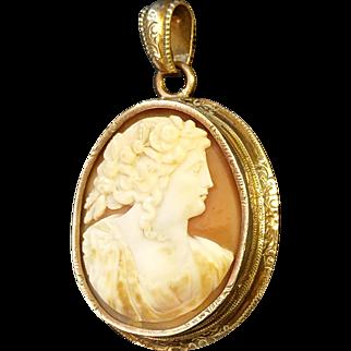 Victorian Shell Cameo Reliquary Locket Pendant