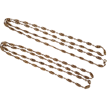 2 Antique French Gold Filled FIX Long Chain Necklaces